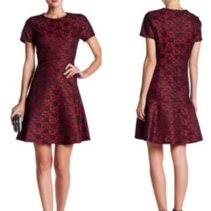 Betsey Johnson lace fit and flare dress red size 6